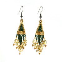 Glistening Green and Ivory Earrings