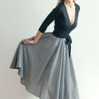 Retro Inspired Gingham Midlength Full Skirt by LanaStepul on Etsy