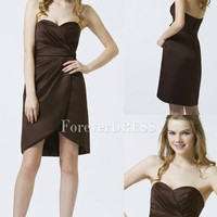 Mini Length Elegant Chocolate Sexy Strapless Chiffon Plus Size Bridesmaid Dress