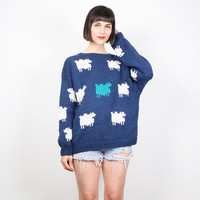 Vintage Navy Blue Sweater 1980s 80s Sheep Lamb Novelty Print Knit Jumper Chunky Knit Sweater Teal White Boho Cozy Pullover M L Large XL