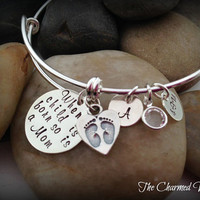 When a Child Is Born so is a Mom Bangle Bracelet - Mother's Day Gifts - New MOMMY Jewelry-Baby Foot Charm -Adjustable Bangle