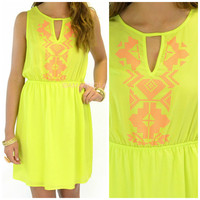 Pow Wow Neon Lime Aztec Dress