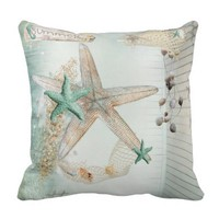 Summer Sea Treasures Throw Pillow