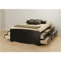 Prepac Sonoma Tall Queen Platform Storage Bed, Black