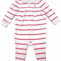 Ralph Lauren Infant Girls Romper in Dark Pink and White Stripes, Pink Pony (Lace-trimmed Collar)