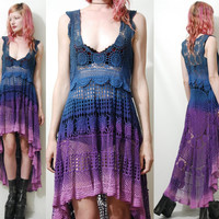 Crochet Dress VINTAGE LACE Purple Blue OMBRE Fishtail Sheer Grunge Gypsy vtg Bohemian Hippie ooak Handmade xs s m