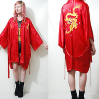 SILK Kimono 70s Vintage DRAGON Robe Jacket Chinese EMBROIDERED Red Bohemian Gypsy vtg 1970s vtg Free Size