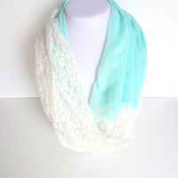 SALE Turquoise Lace Scarf. Blue Infinity Scarves. Spring Summer Scarf. Chiffon Scarf. Mother's Day Gift. Fashion Scarf. Pastel Scarf.