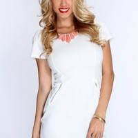 White Short Sleeves Zipper Decor Party Dress