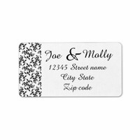 Black elegant damask return address labels
