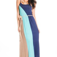NAVY MULTI COLOR-BLOCK LONG MAXI DRESS