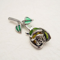 Vintage Rose Brooch Large Stained Glass Jewelry P5752