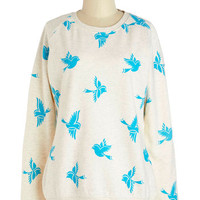 Bluebirds of a Feather Sweatshirt | Mod Retro Vintage Sweaters | ModCloth.com