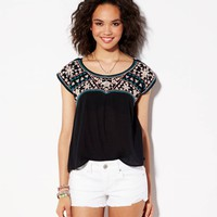 AE GAUZY EMBROIDERED T-SHIRT