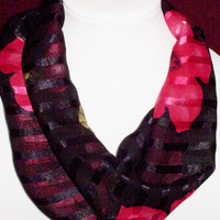 Scarf, Infinity Round Scarf, Red Black Scarves,Fashion Accessory, Womens Scarves, Loop Scarf, Cowl Scarves, Unique Short Tube Scarf