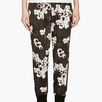 BLACK & WHITE FLORAL PLEATED TROUSERS
