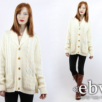 Vintage 70s Oversized Cream Cable Knit Cardigan Cream Cardigan Cream Sweater Cream Knit Oversized Knit Oversized Sweater Cream Jumper