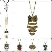 Pugster Hot Fashion Vintage Bronze Owl Big Eye Pendant Necklaces Long Chain 18""