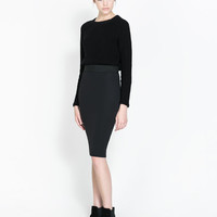 MIDI PENCIL SKIRT WITH ELASTIC WAIST