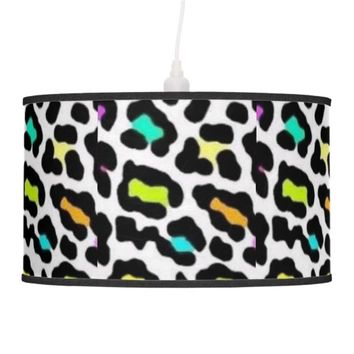 Rainbow Cheetah Print Pendant Lamp Aqua Trim