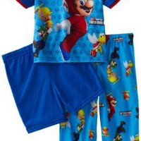 AME Sleepwear Boys 2-7 Mario Wii &#x27;Jump For Coins 2&#x27; 3 Piece Pajama Set