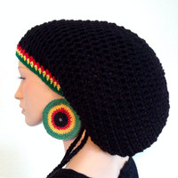 Crochet Rasta Tam with matching Earrings.  Unisex Dreadlocks Tam . Mega Rasta Hat. Bob Marley tam. Pan African. Jamaican