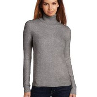 Christopher Fischer 100% Cashmere Women's Long Sleeve Turtle Neck Sweater with Gold Button Detail On Cuff