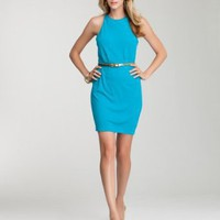 bebe Open Back Belted Jersey Dress