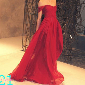 Maxi Prom Dress, Red Prom Dress,  Off Shoulder Red Evening Prom Dresses, Custom Made Maxi Prom Dresses, Formal Dress, Bridesmaid Dress Sexy