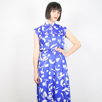 Vintage Cobalt Blue Dress Royal Blue Dress Blue White Abstract Print Keyhole Neck Cap Sleeve Midi Dress Day Dress Sundress M Medium L Large