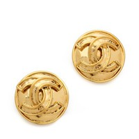 Vintage Chanel CC Round Earrings