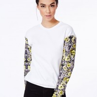 Missguided - Deabie Scuba Sweatshirt With Floral Contrast Sleeves
