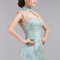 YannyExpress | Sculpted Sleeveless Illusion Jeweled Qipao Shimmer Cheongsam
