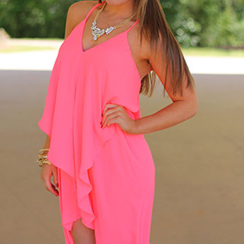 Draped In Love Dress, Neon Pink