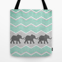 Three Elephants - Teal and White Chevron on Grey Tote Bag by Tangerine-Tane | Society6