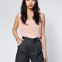 American Apparel Linen Pleated Short