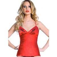 Skull Rose Embroidery Camisole by Bedroom Stories (Red)