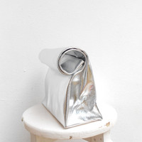 Silver leather paper bag