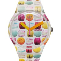 Swatch Women's Swiss Sweet Explosion Multicolor Print White Silicone Strap Watch 41mm SUOW707