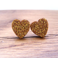 Gold Glitter Heart Stud Earrings - Sparkling Gold, Wood Heart, Stainless Steel, Clear Backing, Valentine, Nickel and Lead Free, 12mm