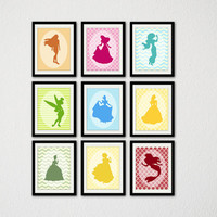 "Disney Princess Silhouette Print Set. Set of 9. Minimalist Disney. Nursery Art. Princess. Baby Girl. Little Girl. 8.5x11"" Prints."