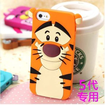 Lovestal Cute Cartoon 3D Disney Monster University Animals Soft Silicone Back Cases Covers for Apple iPhone 5 5G 5S (The Jump Tigger)