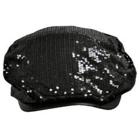 Black Fully Sequined Ivy Beret Cap With Covered Brim