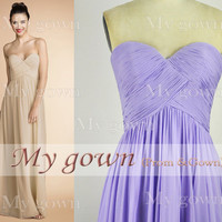 2014 Prom Dress,Strapless Draped Floor Length Chiffon Prom Gowm Dresses,Bridesmaid Dresses,Wedding Cocktail Dress,Wedding Dress,Gowns