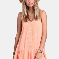 Peach Daiquiri Embroidered Dress By Love Sadie