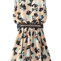ROMWE Colorful Floral Print Pleated Slim Belted Dress