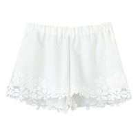 ROMWE Lace Panel Elastic Sheer White Shorts