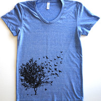 Bird Tree Print Tee Tri-Blend Short Sleeve Women's Vintage Track Tee
