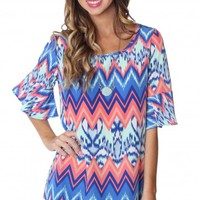 Abstract Bell Sleeve Blouse