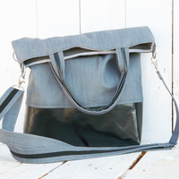 black grey tote bag canvas and leather fold over bag adjustable shoulder strap handstrap